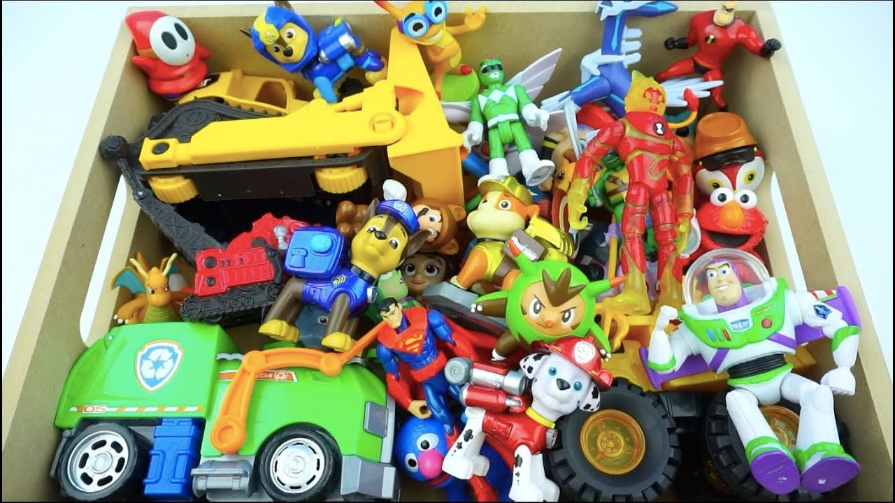 Colorful Kids Toy Box Video with toys like car, vehicles, Action ...