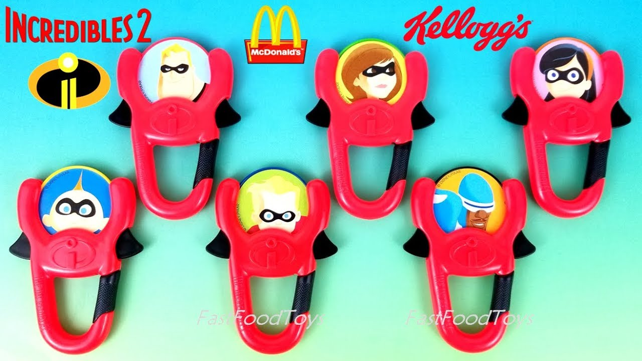 Tag Mcdonalds Hotel Transylvania 3 Toys 2018 McDONALDS INCREDIBLES 2 HAPPY MEAL TOYS KELLOGGS CEREAL SUPER DISC LAUNCHERS 2004